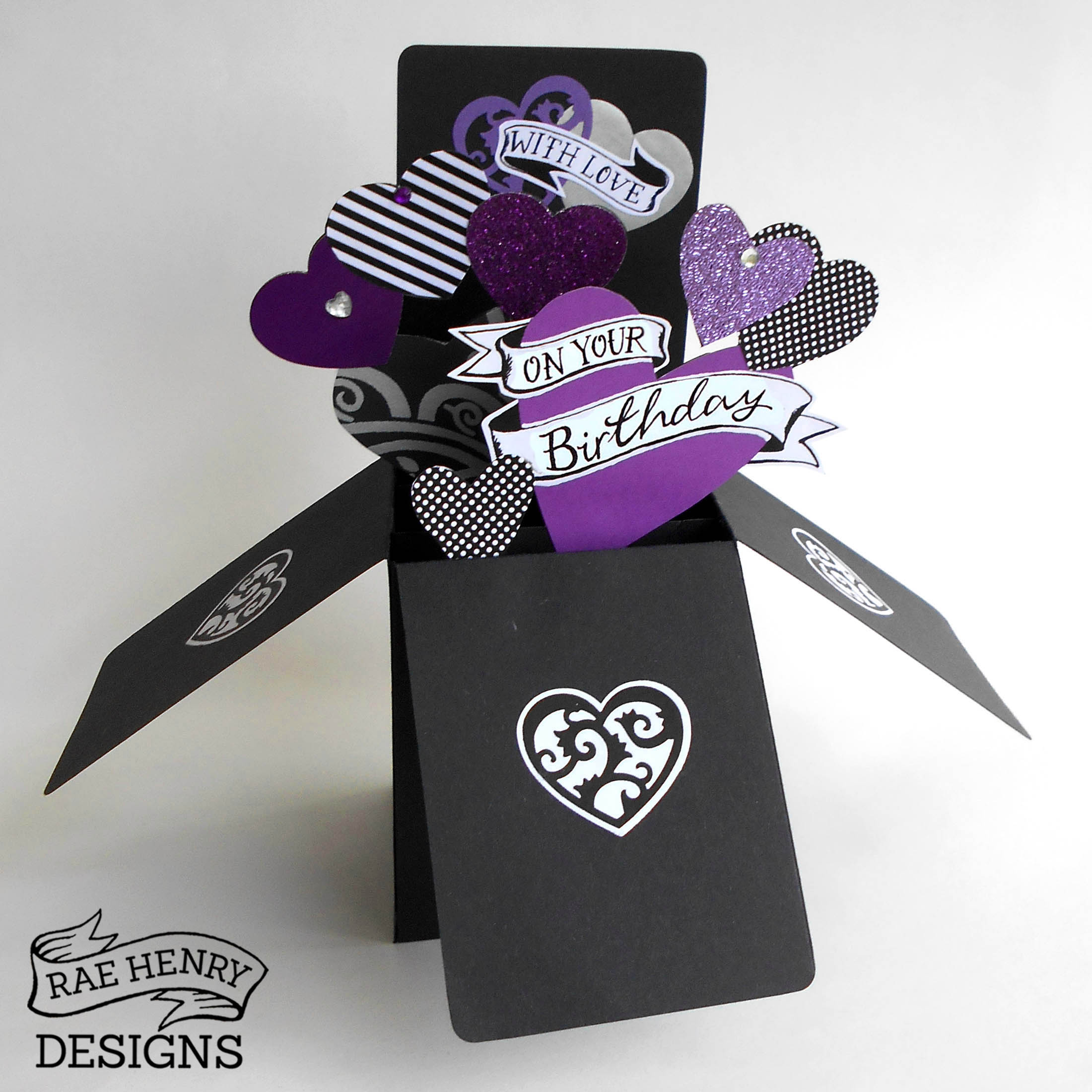 purple tattoo hearts popup birthday cardrae henry designs shop, Birthday card