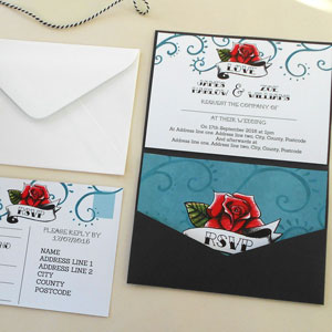 tattoo rose wedding stationery