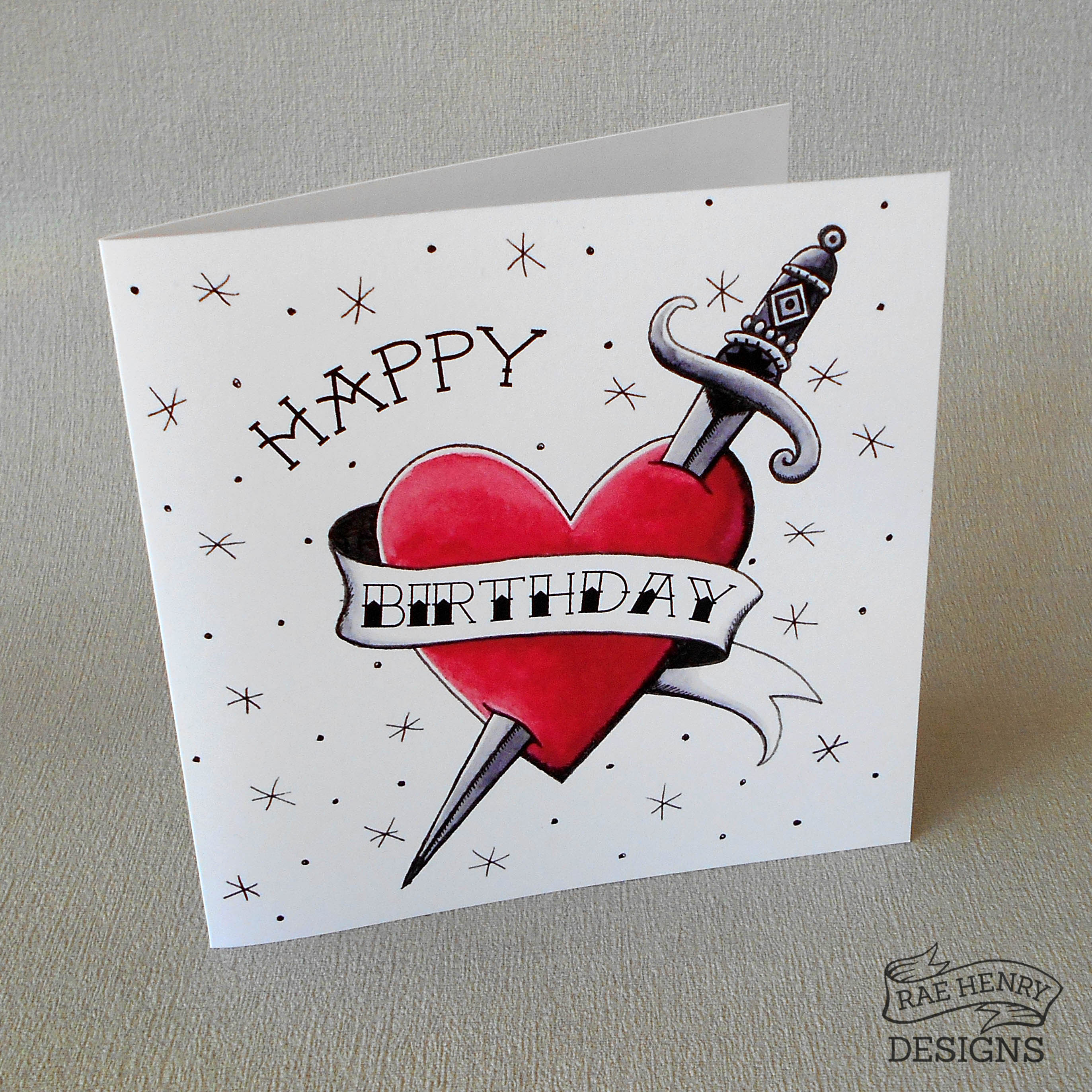tattoo flash birthday cardrae henry designs shop, Birthday card